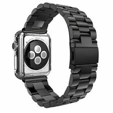 New Stainless Steel Wrist Bracelet Clasp for Apple Watch iWatch Band 38mm(Black)