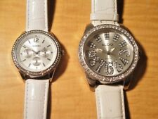 PAIR OF ALDO AND BONGO WRISTWATCHES SILVER FACE FAUX DIAMONDS LARGE DIAL