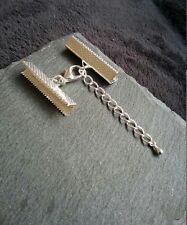 BULK 20 sets Silver Plated Crimp Ends for 30mm Ribbon With 14mm Lobster Clasps