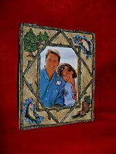 "Whisper Pines 3D Frame with Fish holds 3.5"" x 5"" overall 6"" x 7""1994 w/ box."