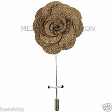 New in box formal Men's Suit chest brooch Beige Tan flower lapel pin wedding