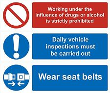 Seat belt Daily inspection No drugs ir Alcohol stickers London compliancy