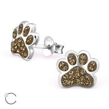 Paw Print Brown Smokey Quartz Crystal .925 Sterling Silver Stud Post Earrings