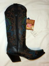 Tony Lama VF3038 Size 5B Womens 100% Vaquero Western Embroidered Boots BLACK