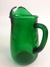 Anchor Hocking  Vtg Glass Forest Green Pitcher 36 oz Ice Lip Fire-King Christmas