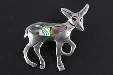 HECHO EN MEXICO STERLING SILVER ABALONE STONE ANIMAL BROOCH 925 MEXICO 6908