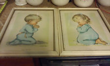 """Vintage """"Bless Us All"""" Pictures By Charlot Byi Child Boy & Girl Praying Framed"""