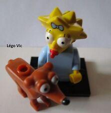 """Légo 71009 Minifig Figurine The Simpson 2 """"Maggie & Dog """" + socle + fiche"""