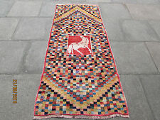 Traditional Hand Made Persian Oriental Gabbeh Runner Wool Checker Red 210x90cm