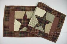 """Country Primitive Quilted Patchwork Stars 13"""" x 36"""" Cotton Runner 'Abilene Star'"""