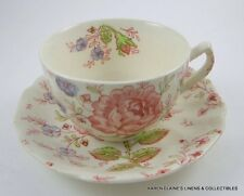 Rose Chintz Pattern Johnson Brothers Ironstone Cup and Saucer Multiples