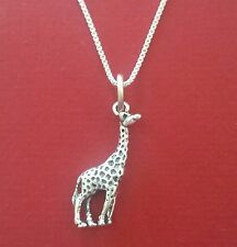 Giraffe Necklace Sterling Silver Solid 925 new Charm Pendant n Chain wild animal