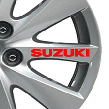 Set of 4 Suzuki Car Alloy Wheels stickers  ( Red ) A01