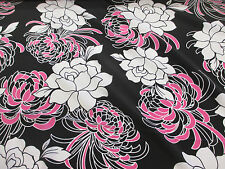 9.6 Metres Black, White/Pink Floral Crepe De Chine Printed Dress Fabric.