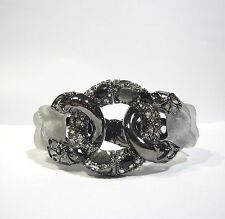 Alexis Bittar Large Lucite Pyrite and Swarovki Crystals Lace Link Hinge Bracelet