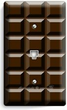 DARK CHOCOLATE BAR CUBES PHONE TELEPHONE  WALL PLATE COVER CHEF KITCHEN NY DECOR