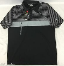 Under Armour MEN'S Golf Polo Loose HeatGear ColdBlack Black Grey Stripe Size M