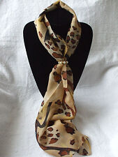 Scarf +Scarf Ring Gift Set Slim Leopard (Brown) + Cream & Gold Ring + Gift Bag