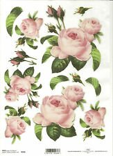 Rice Paper for Decoupage Scrapbooking, Pink Roses Leaves  A4 ITD R036