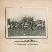 PHOTO PRESSE c.1910 -La France au Maroc Campement  Peloton d'Escorte à Taza- 224
