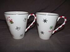 Set of 2 Lenox Merry & Bright Silhouette Mugs - Presents and Snowflakes