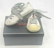 KIDS PRADA SNEAKERS WHITE  LACE UP   SIZE EU 24 / USA 6 PRE SCHOOL