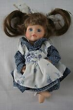 "Hand Painted Girl Doll Vintage Chadwick-Miller Porcelain  7.5"" tall  Blue Dress"