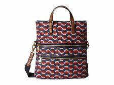 Fossil Explorer Leather Foldover Flap Tote Shoulder Bag (Red Multi)