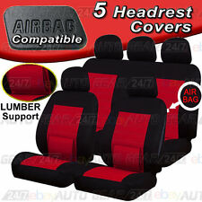 Black Red Lumbar Support Air Bag Friendly Full Set Camden Car Seat Covers Set