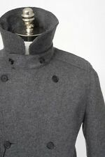 DOLCE & GABBANA Gray Melange Flannel Wool DB Caban Pea Coat Jacket 54 XL NWT