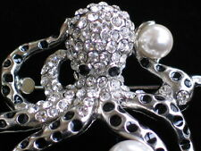 """SILVER PEARL SEA CREATURE OCTOPODES OCTO OCTOPI OCTOPUS PIN BROOCH JEWELRY 2"""" 3D"""