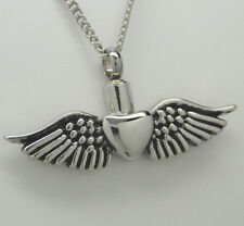 WING HEART CREMATION URN NECKLACE HEART WITH WINGS CREMATION JEWELRY  KEEPSAKE
