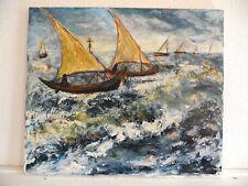 tableau ancien huile sur toile signée Schoenmoehers.R (XXe-s) - marine