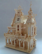 3D DIY Wooden Puzzle Wooden House Model 4 Rooms Kit Building Blocks