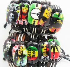 20pcs (10 styles) Rasta Peace Jamaic Bob Marley mix Leather Bracelet Wristbands