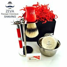 6 PCS MENS SHAVING KIT - BRUSH SOAP RAZOR MUG - TRAVEL SET ZEVA RASSAGE