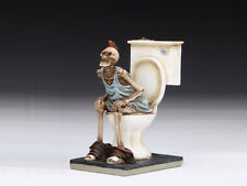 SKELETON ON TOILET SKULL FIGURINE STATUE  HALLOWEEN