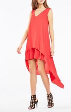 NWT BCBG Max Azria Kaira Asymmetrical High Low V Neck Double Layer Dress XS Red