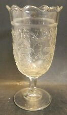 Vintage Scalloped Edge Embossed Clear Pressed Glass Pedestal Vase Excellent Cond