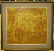 "John Wheat Vintage Modern Abstract ""City in the Sun"" Listed Connecticut Artist"