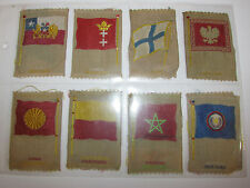Set Of 8 Vintage Collectable Embroidered Flags On The Silk - Patches