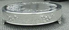 "Silver Plate Embossed Cake Stand Plateau 16"" Round"
