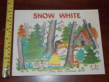 RARE OLD VINTAGE SNOW WHITE STORY AND COLORING BOOK SAML GABRIEL SONS NEW YORK