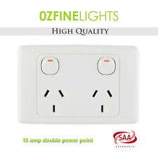2X 15 AMP Double Power Point Electrical GPO Socket SAA APPROVED