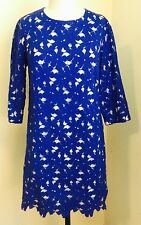Anthropologie CYNTHIA STEFFE Spanish Lace look Bright blue Dress Size 10