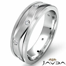 Eternity Wedding Band Round Cut Bezel Set Diamond Men Solid Ring Platinum 0.13Ct