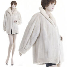 Excellent! Large! Gorgeous Real Female White Pearl Mink Fur Jacket
