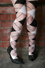 Sheer Soft Nylon BLACK GREY WHITE Tartan Scottish Stockings Pantyhose