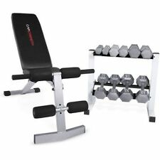 Home Gym Bench + 150 lb Iron Hex Dumbbells Free Weights + Rack Exercise Lot Set