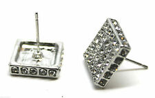 New Pair Square Big 12mm Crystal Ear Stud Earrings CZ Bling Gothic UK Post